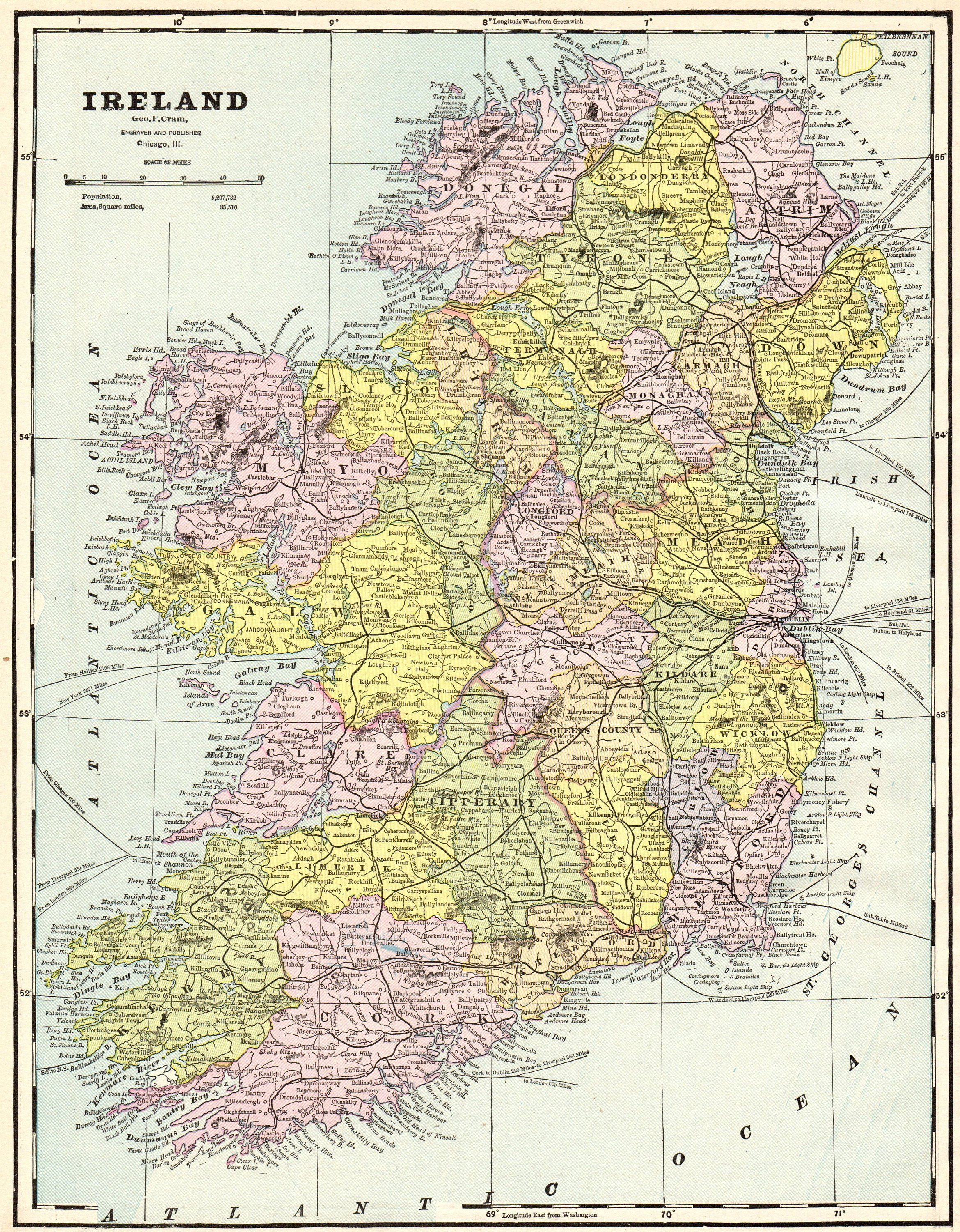 1892 Antique IRELAND Map Vintage Map of Ireland Gallery Wall Art ...