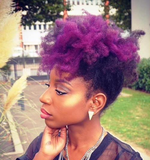 Fun Fancy And Simple Natural Hair Mohawk Hairstyles Purple Natural Hair Natural Hair Styles Natural Hair Styles For Black Women