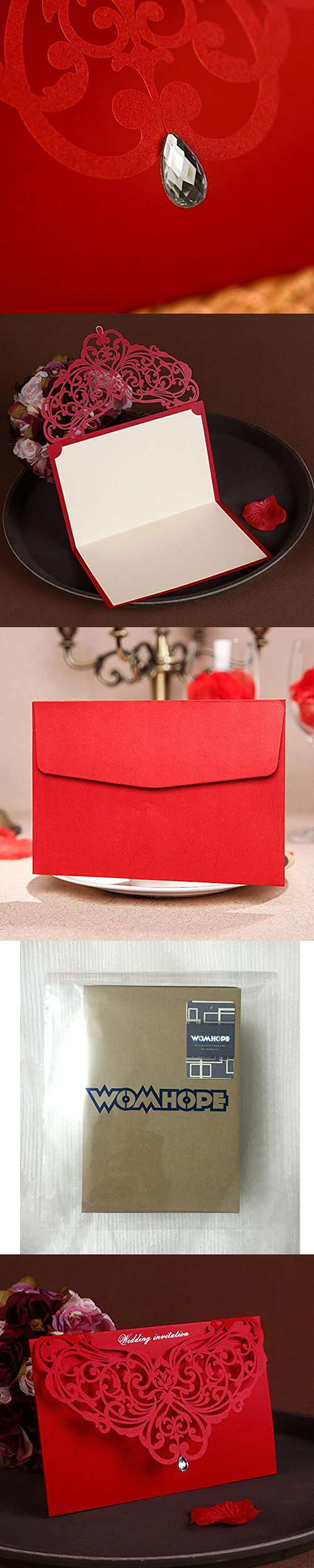 WOMHOPE® 50 Pcs - Classic Red Color Laser Cut Lace Card Wedding ...