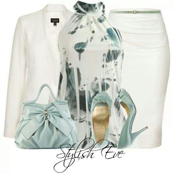 Work outfit - white on white with ice blue blouse, shoes, purse, jewelry.