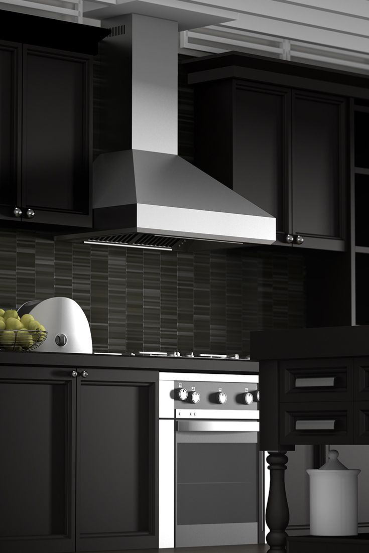 The ZLINE 477 wall mount stainless steel range hood has a