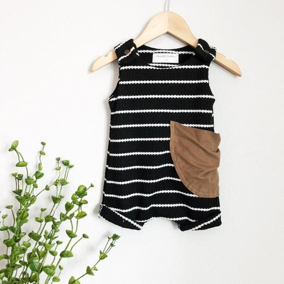 Photo of Baby summer romper, baby boy romper, gender neutral baby clothes, black and white stripes, waffle knit romper – tank romper.