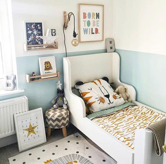 Halbhoch Angemalte Wand Kleinkind Junge Zimmer Ideen Kinderzimmereinrichtung Babyzimmer Dekor