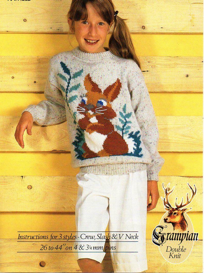 Childrens Rabbit Sweater Knitting Pattern Pdf Childs Bunny