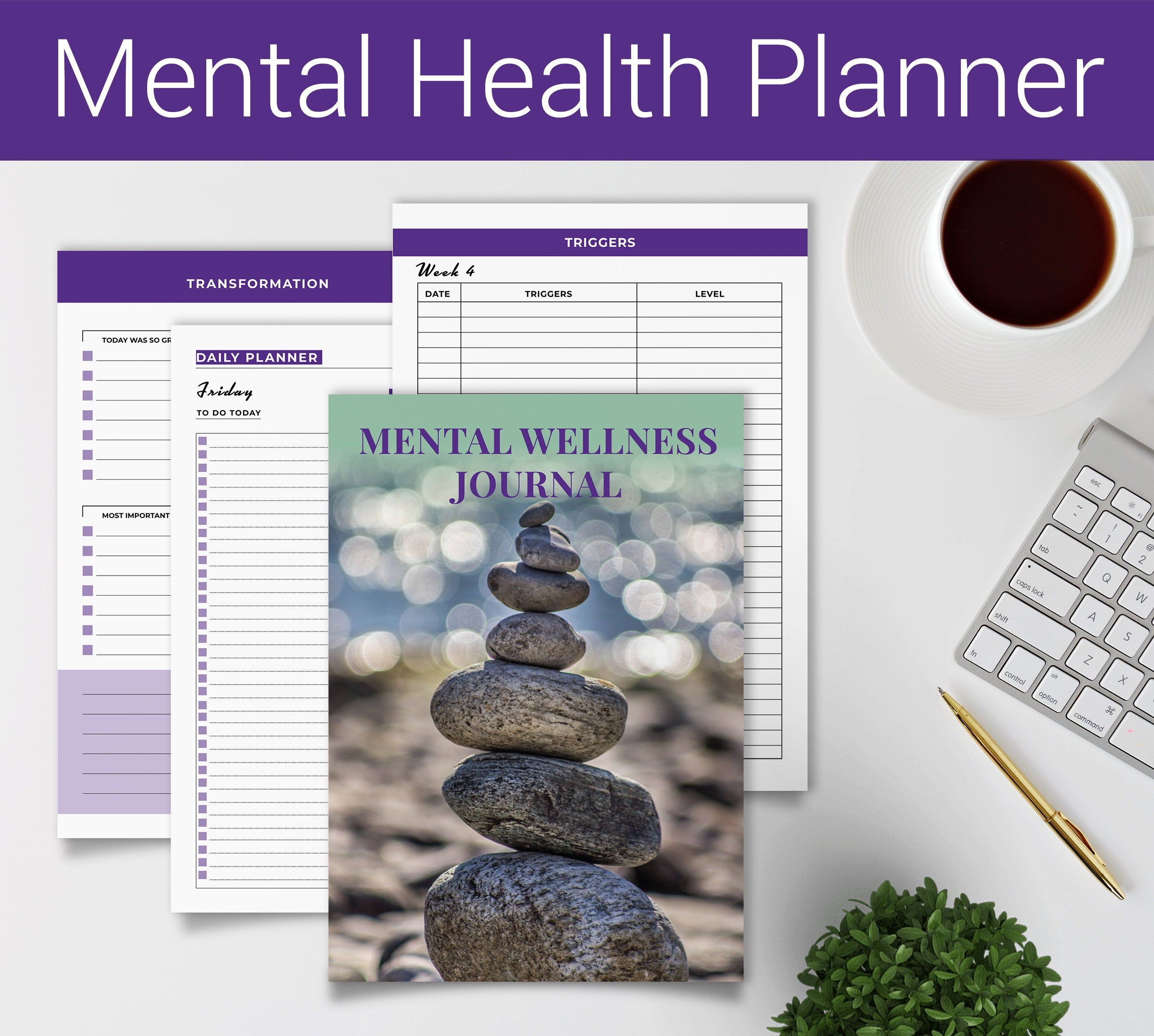 Mental Wellness Daily Journal Daily Planner Printable PDF