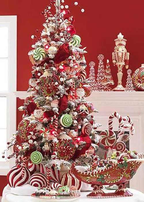 Candy striped Christmas Tree red and white #christmastrees ...