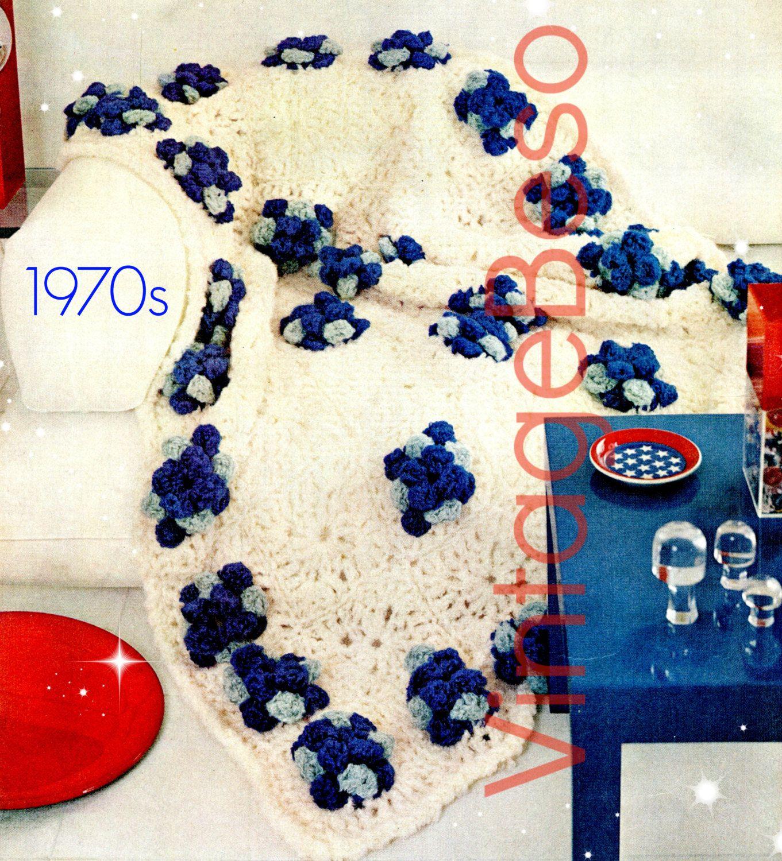 EASY Jumbo Flower Afghan CROCHET Pattern 70s Vintage Beso Crochet ...