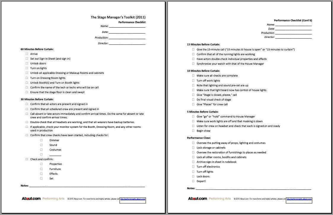 Printable Sign In Sheets And Checklists For Stage Managers