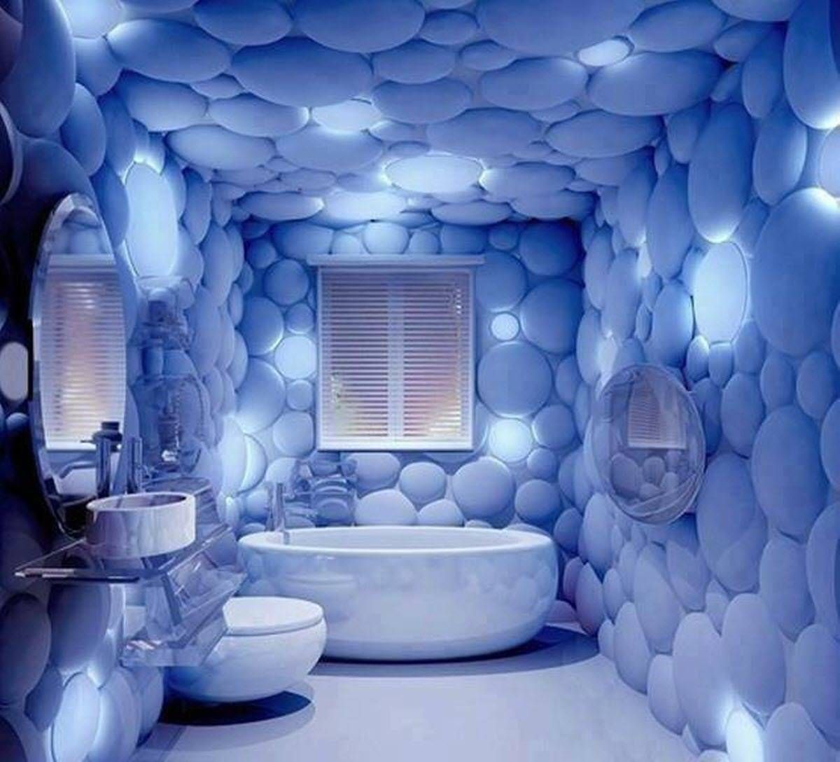 Blue bathroom wallpaper design decorate pinterest bathroom