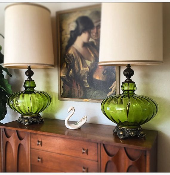 Pair Of Very Large Mid Century Hollywood Regency Green Glass Blown Table Lamps Vintage Lamps Glass Table Lamp Retro Lamp