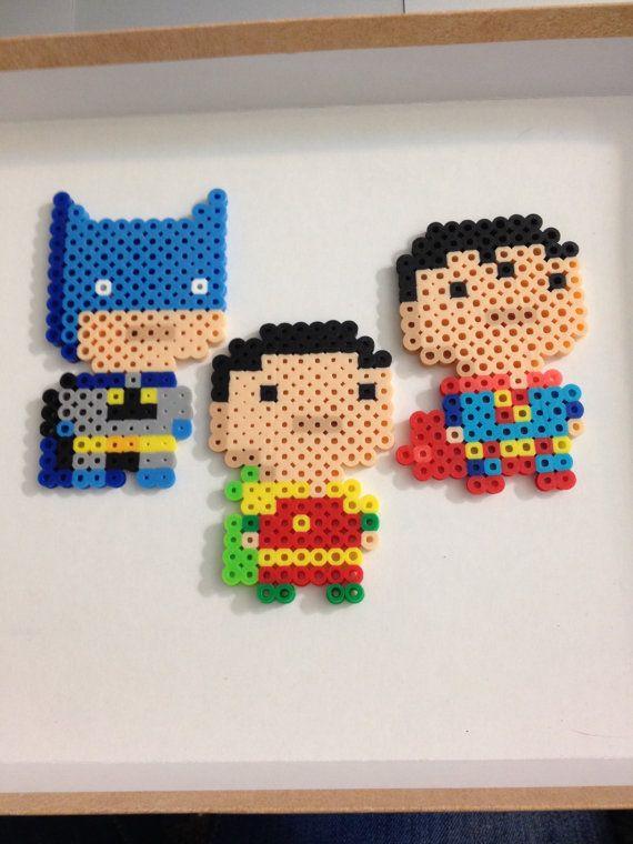 Batman, Robin and Superman Perler Sprites BUNDLE