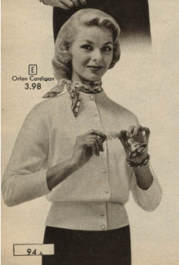 1950s Cardigan Sweater with a Scarf tied around our neck ...
