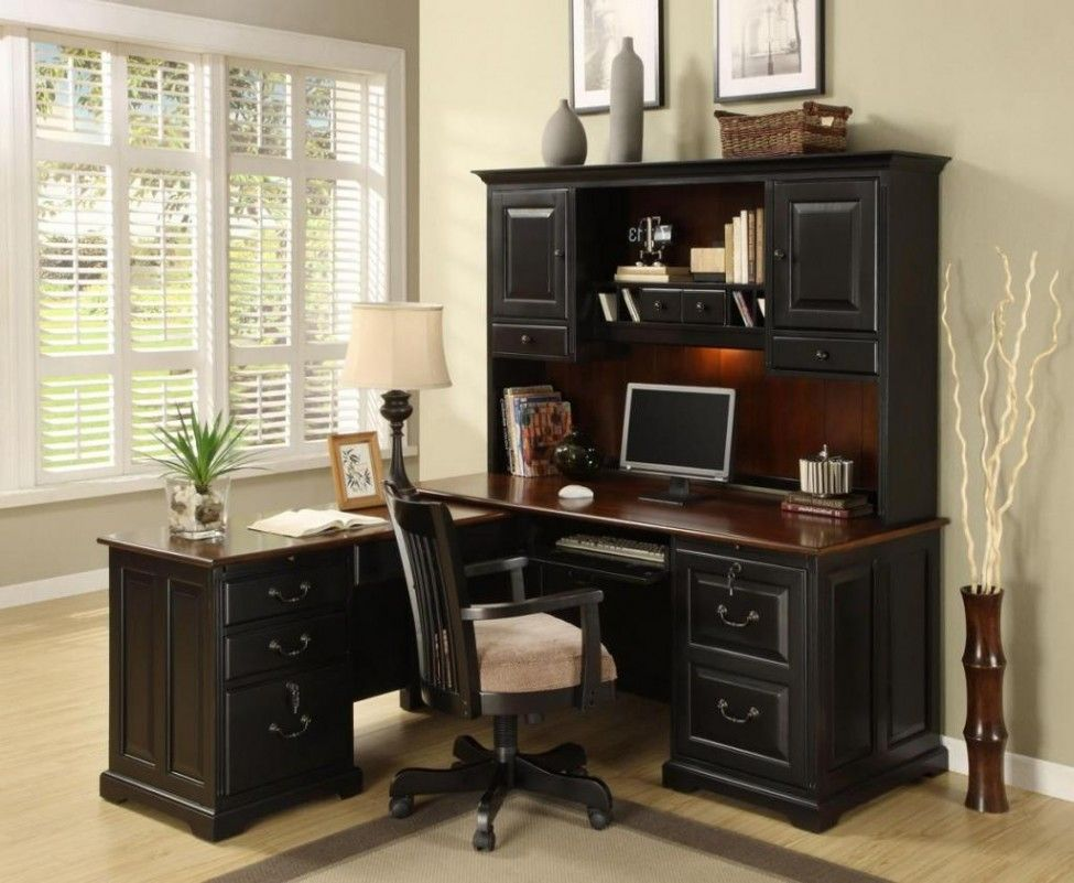 Gothic Office Desk Design With Cabinet And Drawers Minimalist Swivel Desk  And Blind Window Including Lamp