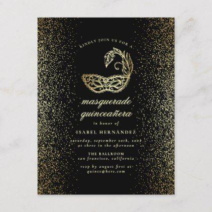 Gold Glitter Confetti Masquerade Quinceañera Invitation Postcard | Zazzle.com #goldglitterbackground
