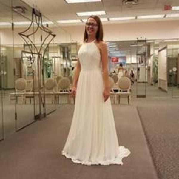 David S Bridal Wedding Gown Preservation: Dotted Chiffon A Line Dress With Halter Neckline