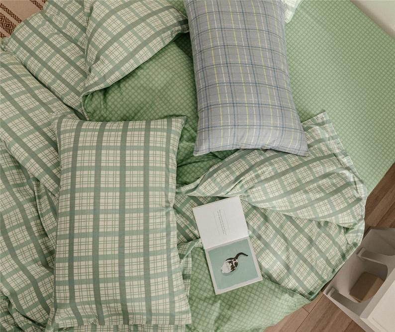 Mint Green Lattice Duvet Cover Set 100 Cotton Comforter Cover Check Home Bedding Sets Quilt Cover Twin Queen King Special Gifts Green Comforter Green Duvet Covers Sage Green Bedroom
