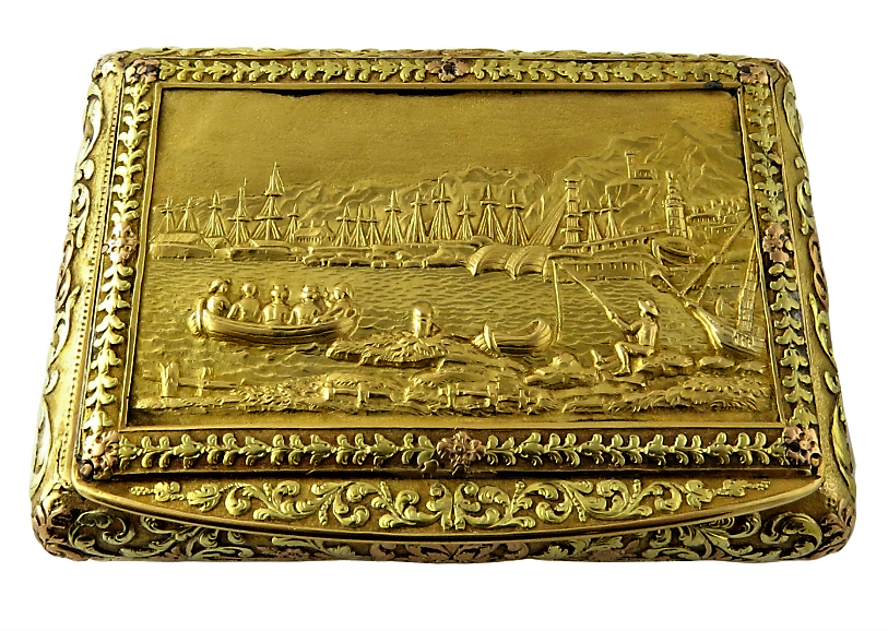 Antique 3 Color Solid Gold Snuff Box With Gold Plaque Geneve Bautte Et Moynier Mm Schatulle Etui Antike