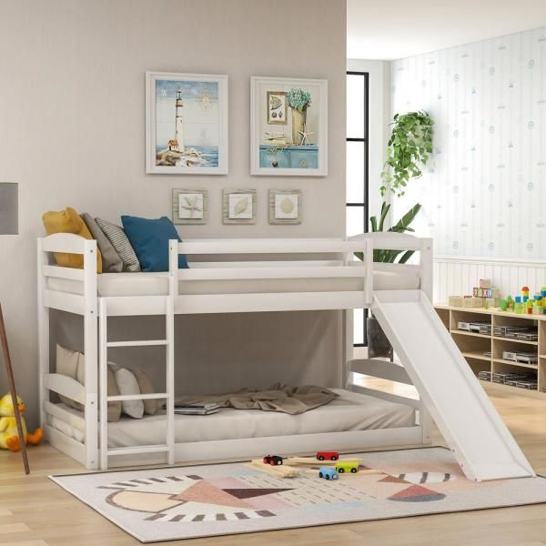 Harper Bright Designs White Twin Bunk Bed Over Low With Slide And Ladder Sm000102aak The Home Depot In 2020 Low Bunk Beds Twin Bunk Beds Bed With Slide