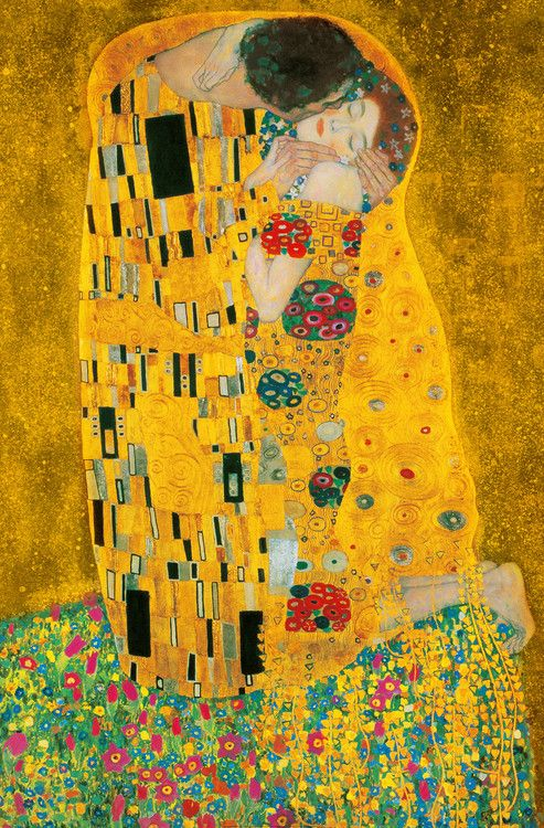 The Kiss is an oil-on-canvas painting with added gold leaf, silver and platinum by the Austrian Symbolist painter Gustav Klimt.   #gustav #Klimt #painting #TheKiss #ART #artwork #artlover #artreproduction #reproduction #kiss #love #etsy #etsyshop #handmade #handpainted