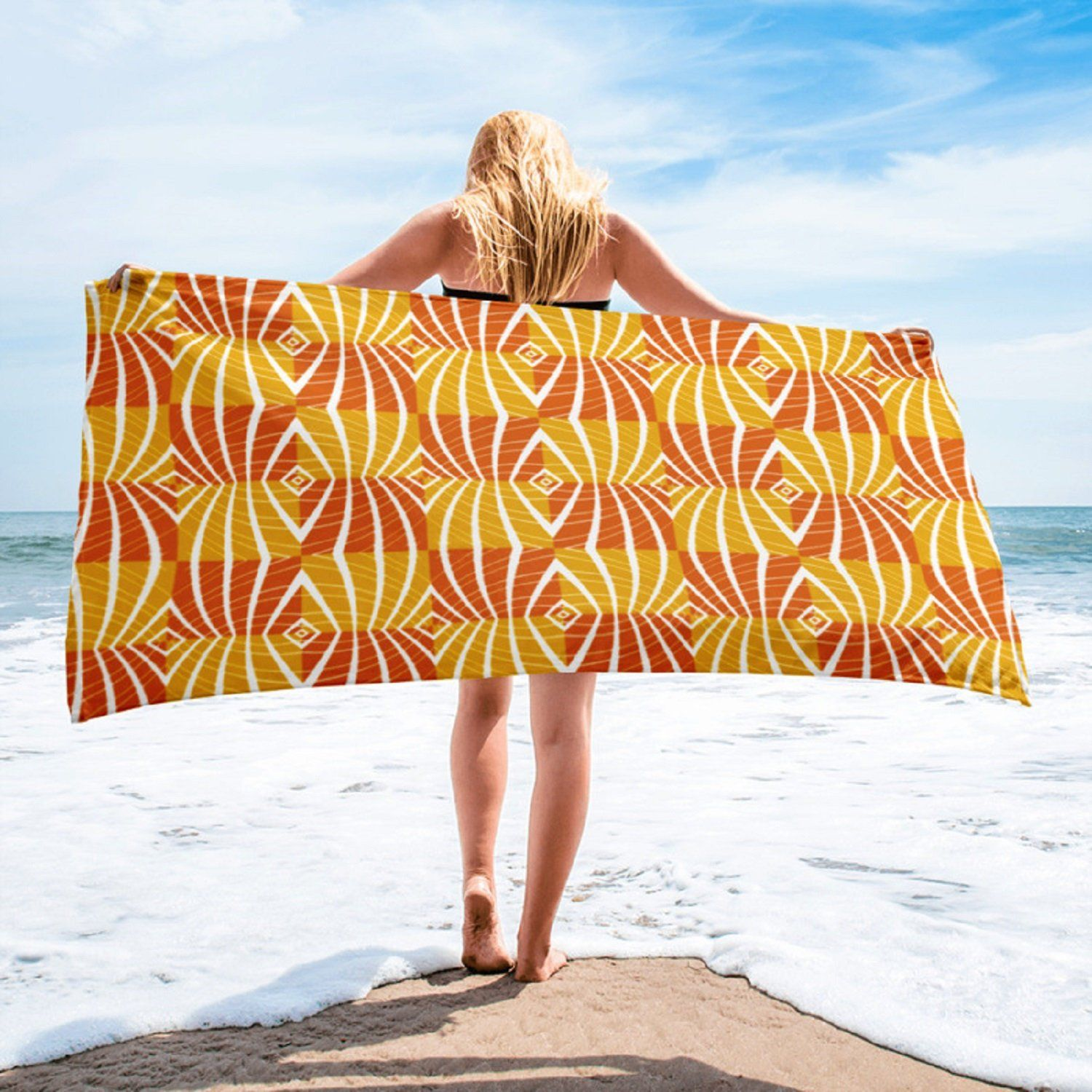Brown White Orange Boho Beach Towel A Great Gift For Any Surfer