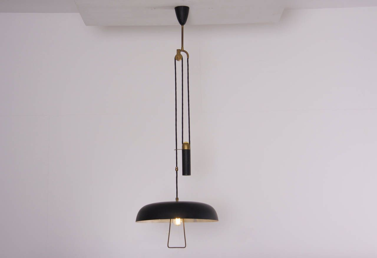 Early 1950s Italian Counterweight Pendant Lamp From A Unique