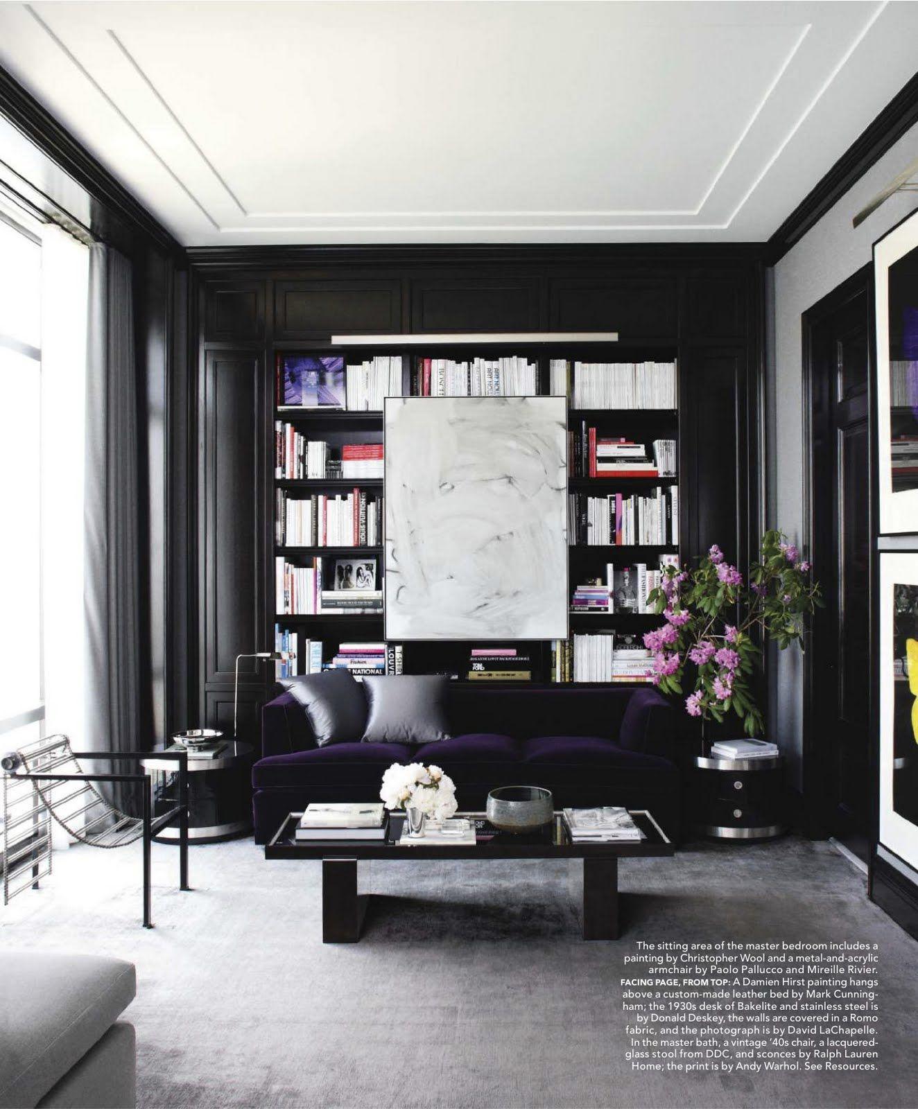 Black Wall Shelves hana soukupová & drew aaron apartment. christopher wool painting