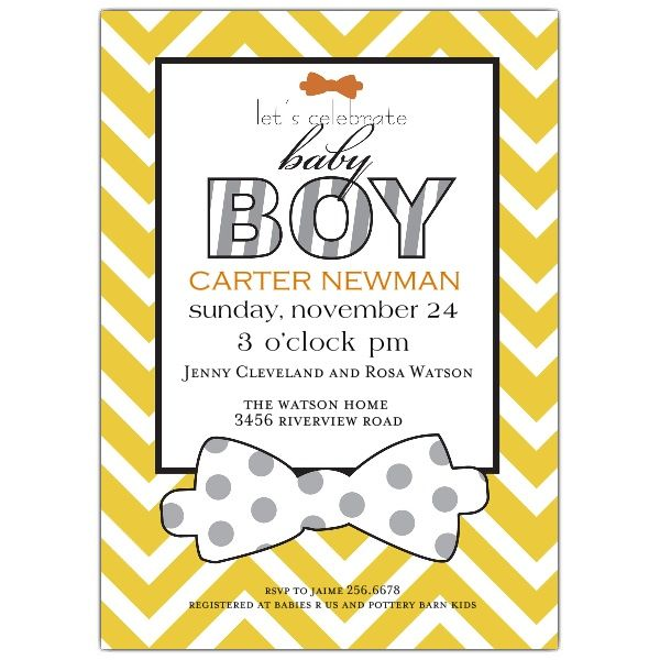 Bowtie Baby Boy Shower Invitation | PaperStyle