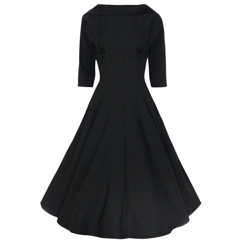Boat neck long black dress