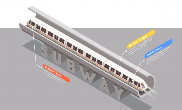 Download Transport Isometric Composition With Subway Train In Tunnel 3d For Free Isometric Subway Train Train