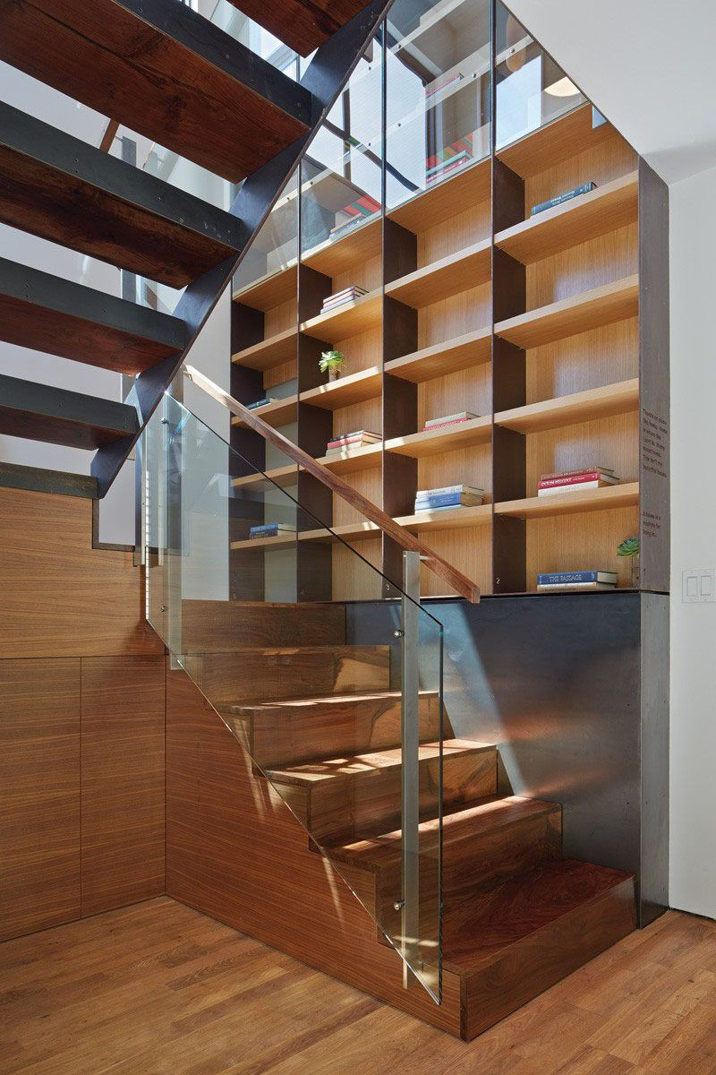 12 Inspiring Examples Of Staircases With Bookshelves Steel House