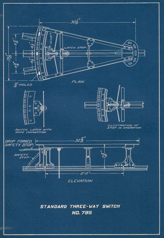 Blueprint technical drawing of three way switch 1930s antique sale engineering blueprint technical drawing of three way switch antique diagram of industrial components malvernweather Choice Image