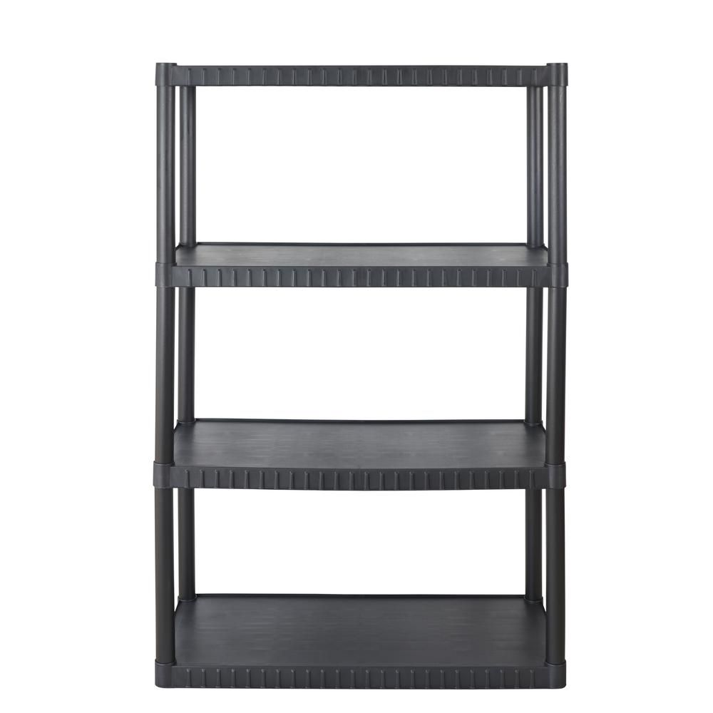 4 Tier Plastic Shelving Unit In Black Sh4t14x34x53bk Plastic