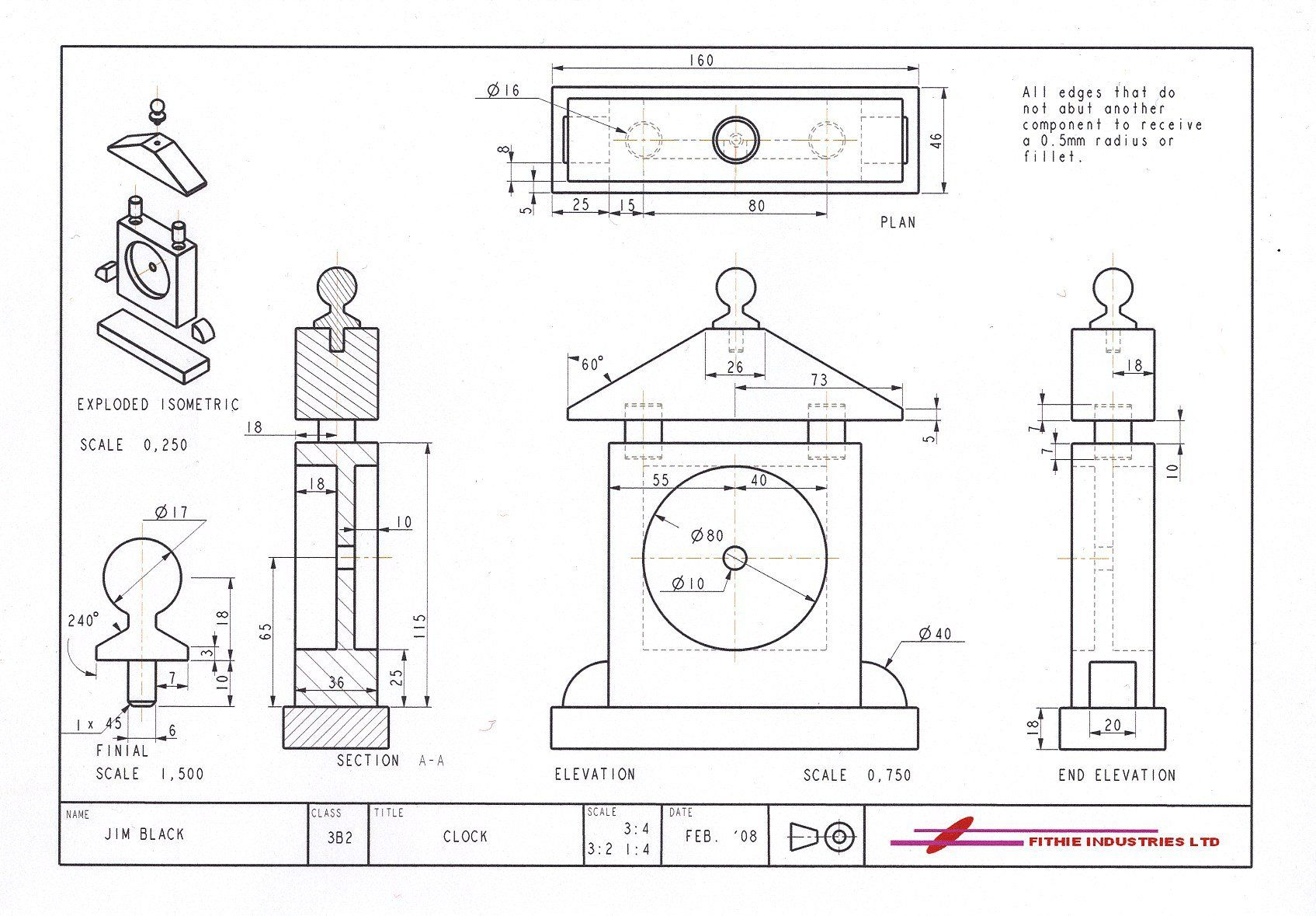 Exemplar Orthographic Drawing Of A Clock Produced In Pro