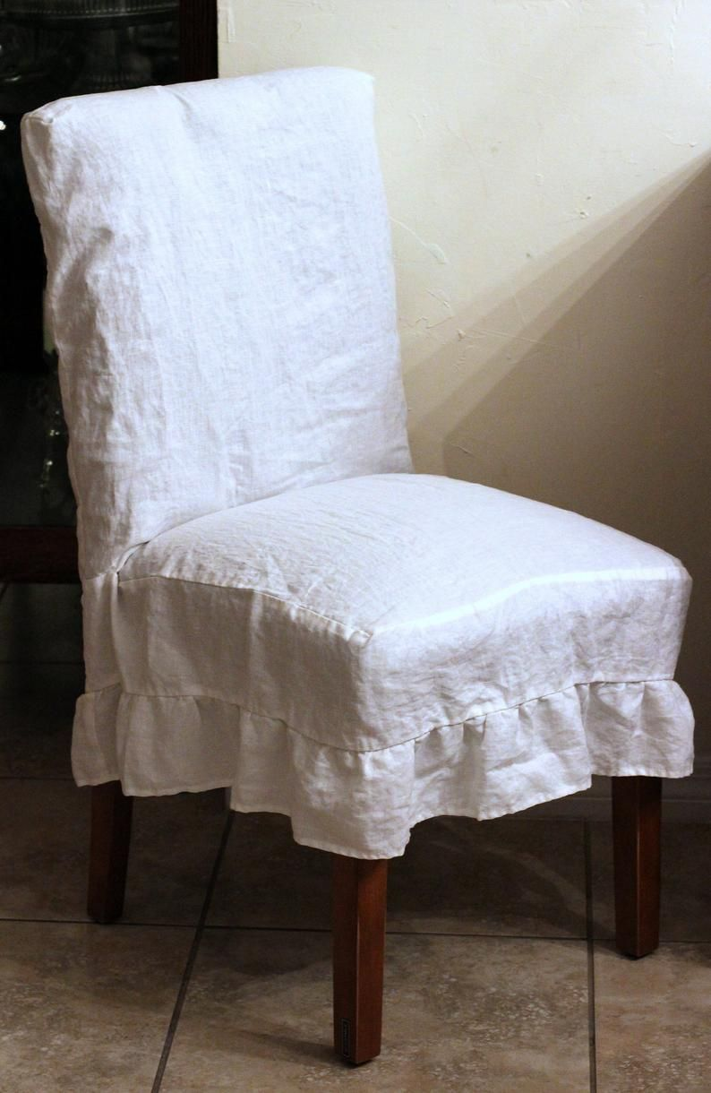 French Country Linen Full Chair Cover Slipcover Parson With Etsy Chair Covers Slipcover Dinning Room Chair Covers Slip Covered Dining Chairs