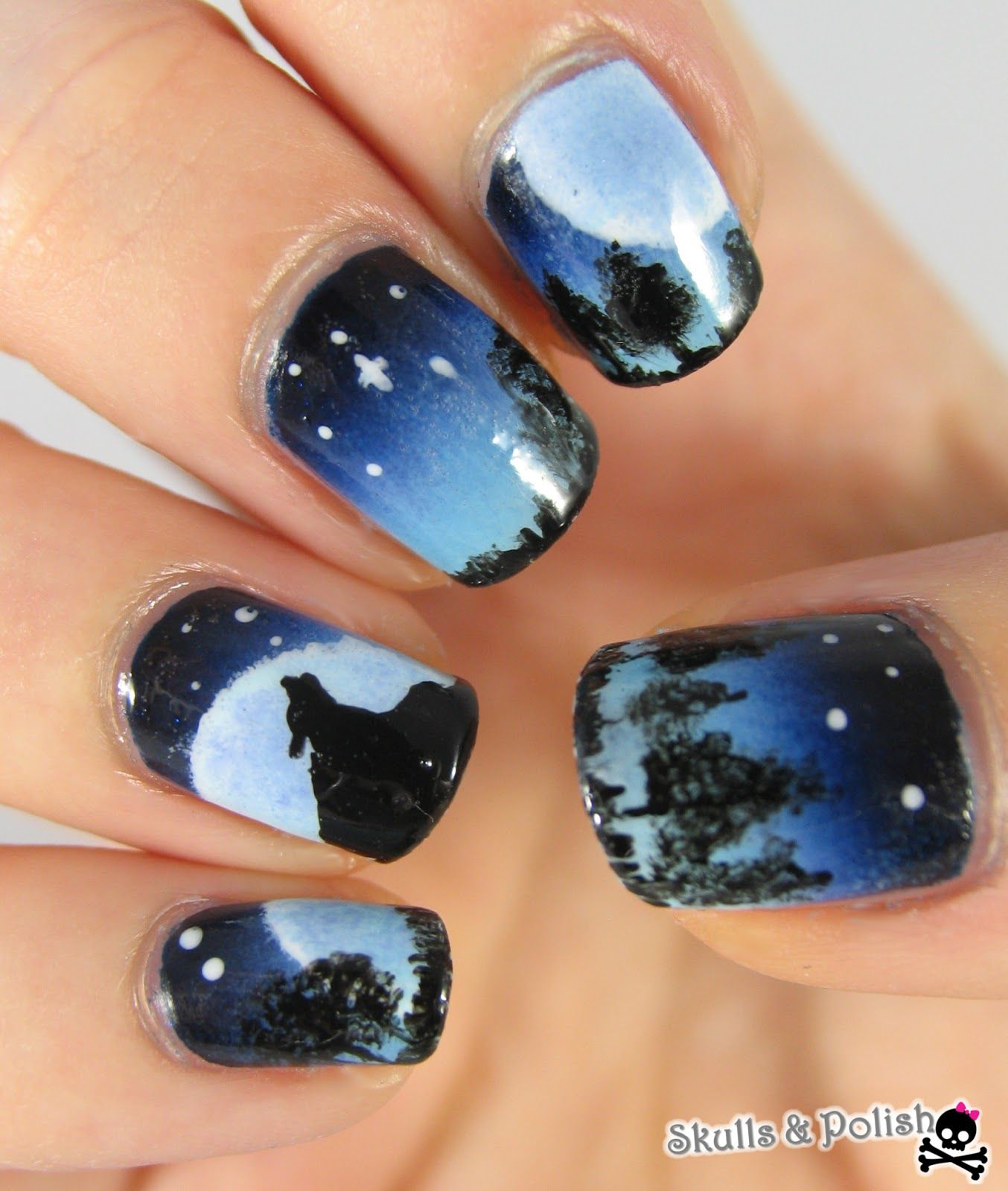 Piggieluv Galaxy Donuts Nail Art: Galaxy Wolf Twin Nails (glow In The Dark)