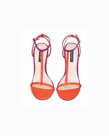 orange t-strap heels