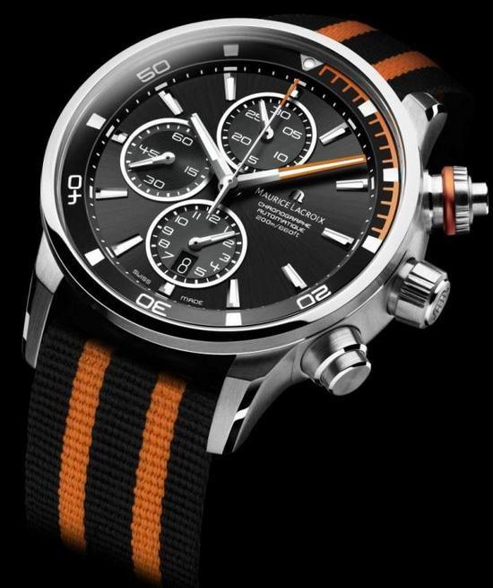 Maurice lacroix pontos s diving chronograph watch orange watches amazing watches luxury - Orange dive watch ...