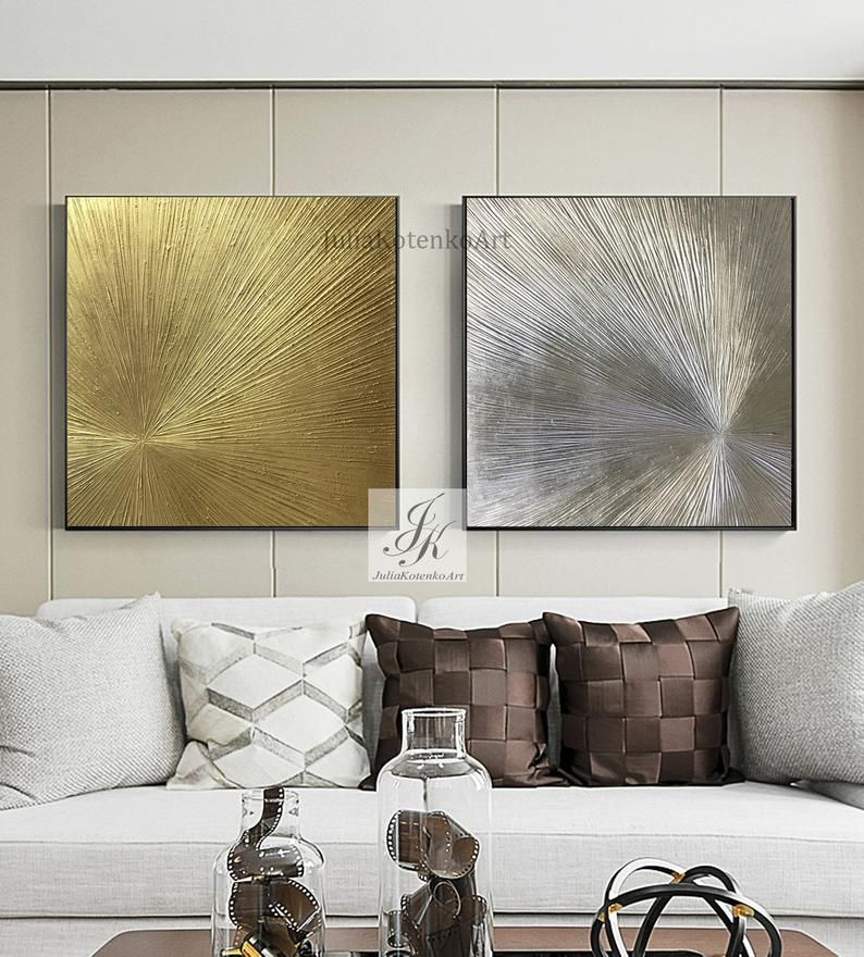 Set 2 Gold Painting Silver Painting Texture Wall Art Oversize Etsy In 2020 Textured Wall Art Gold Leaf Art Textured Walls