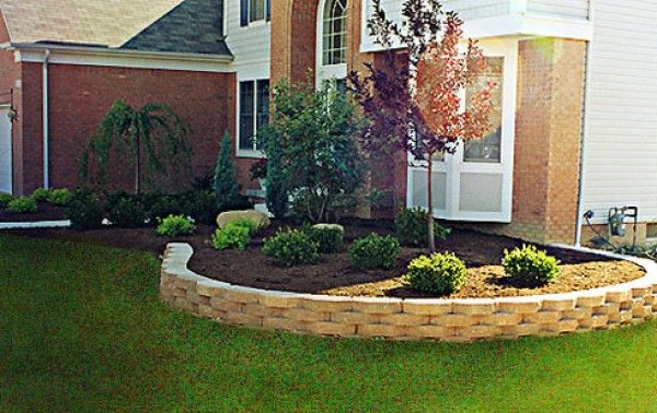 retaining walls boxwoods with tree simple landscaping idea for front yard