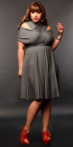monif c gray wrap top cold shoulder dress plus size valentines day style - Plus Size Valentine Dresses