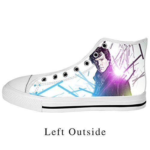 99e45838342 Amazon.com  Custom Famous Detective Sherlock High Top Canvas Shoes for  Women White US10  Clothing