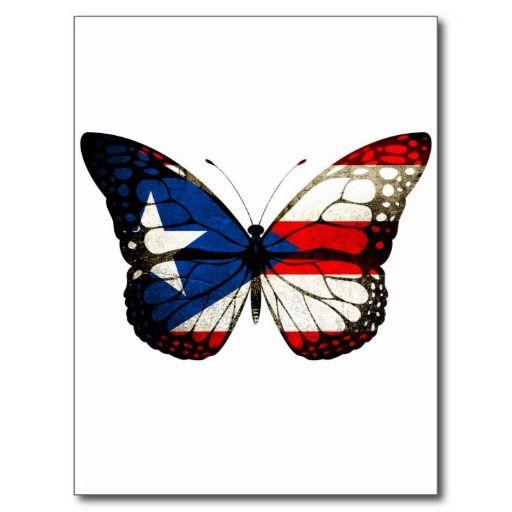 Puerto Rico Butterfly Postcard Zazzle Com In 2020 Puerto Rican Artwork Puerto Rico Tattoo Flag Tattoo