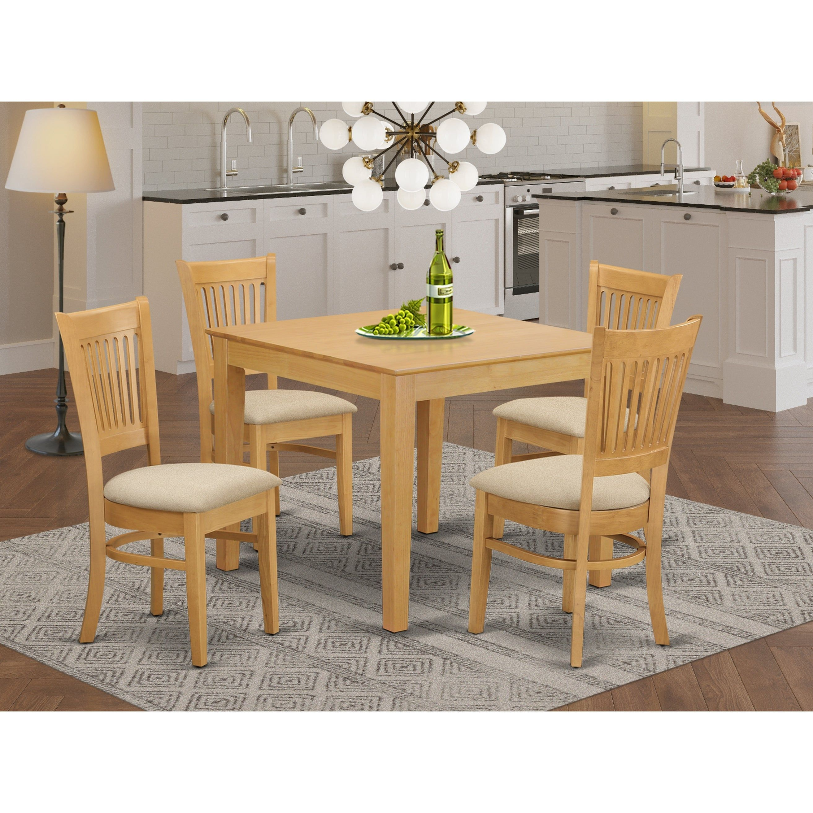 Wood Dining Set Includes a Square Kitchen Table and Linen Fabric Seat Chairs Set in Oak Finish Pieces Option