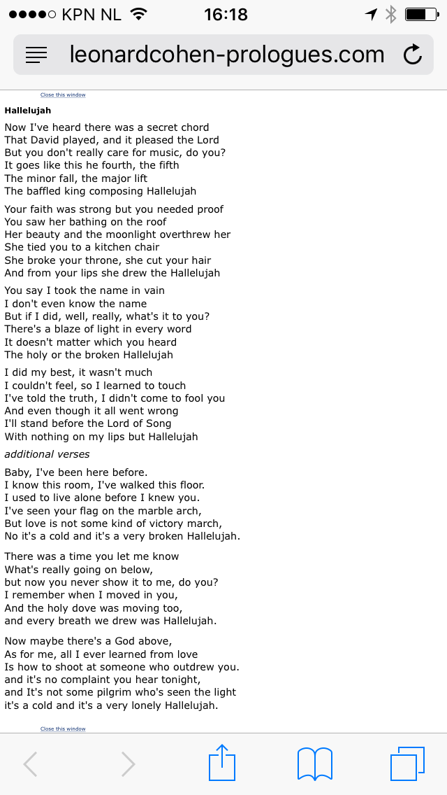 Leonard Cohen - Hallelujah lyrics | Gedichten en ... Hallelujah Lyrics