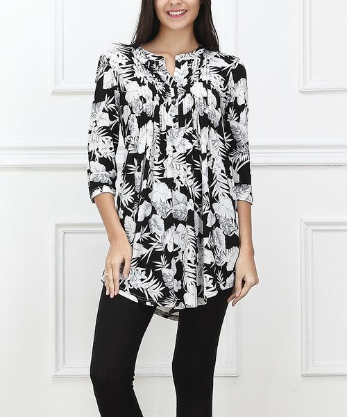 7e64a63e149 Look at this Black & White Tropical Notch Neck Tunic - Women on #zulily  today!