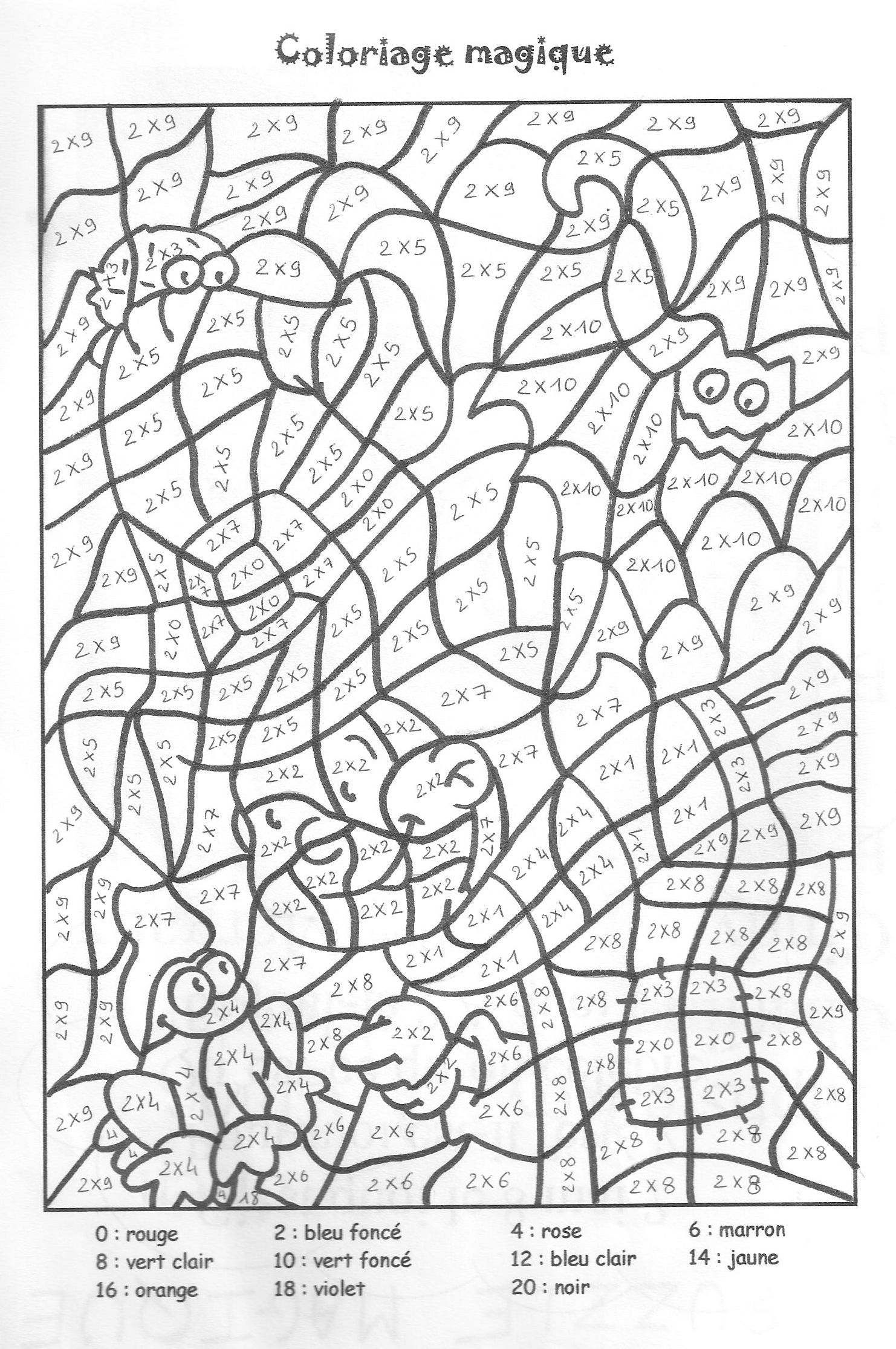 Coloriage magique table de multiplication 2 3 4 5 for Les tables de multiplication en ligne