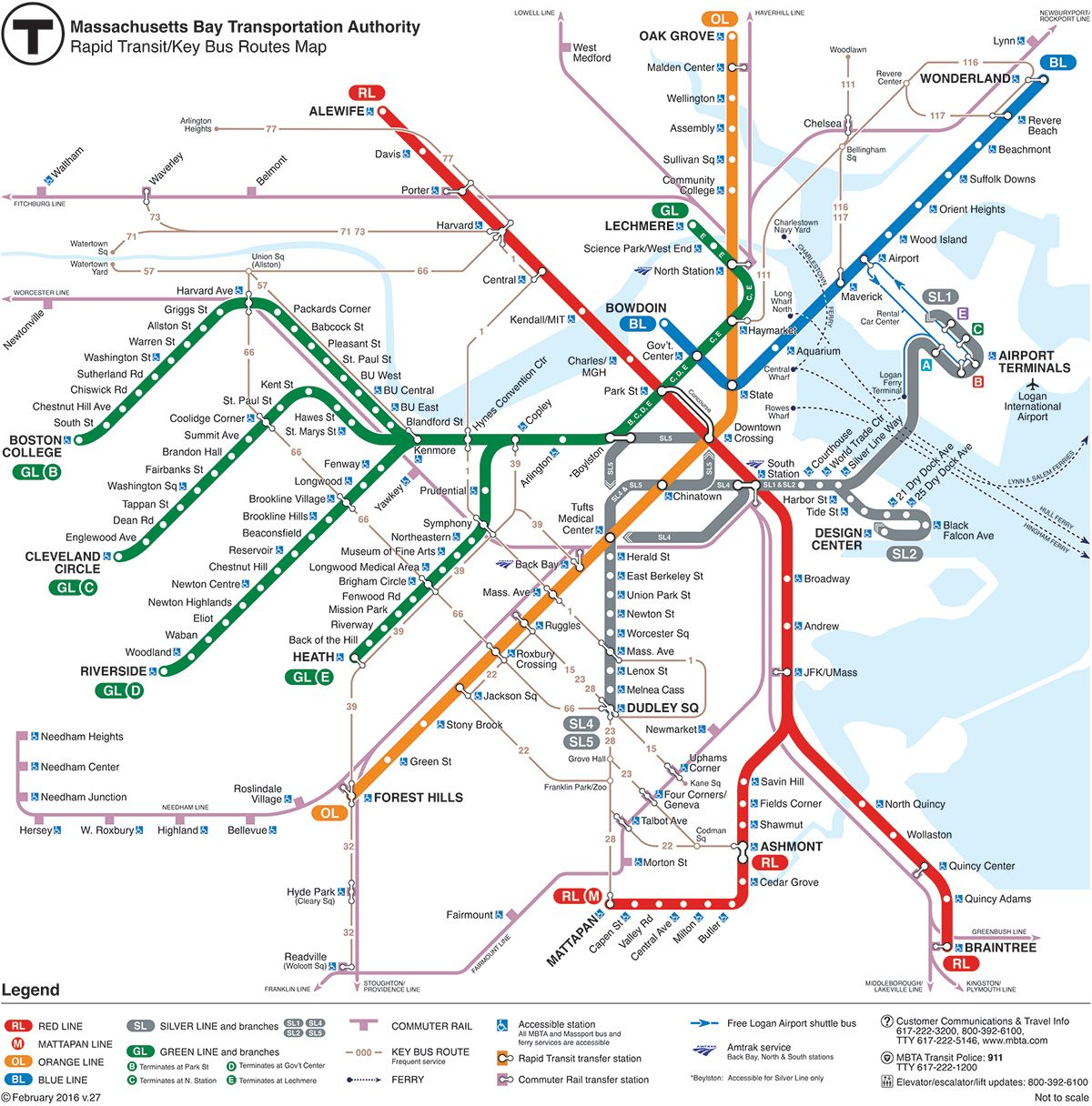 mbta map of boston Mbta Subway The T Maps Schedules And Fare Information For mbta map of boston