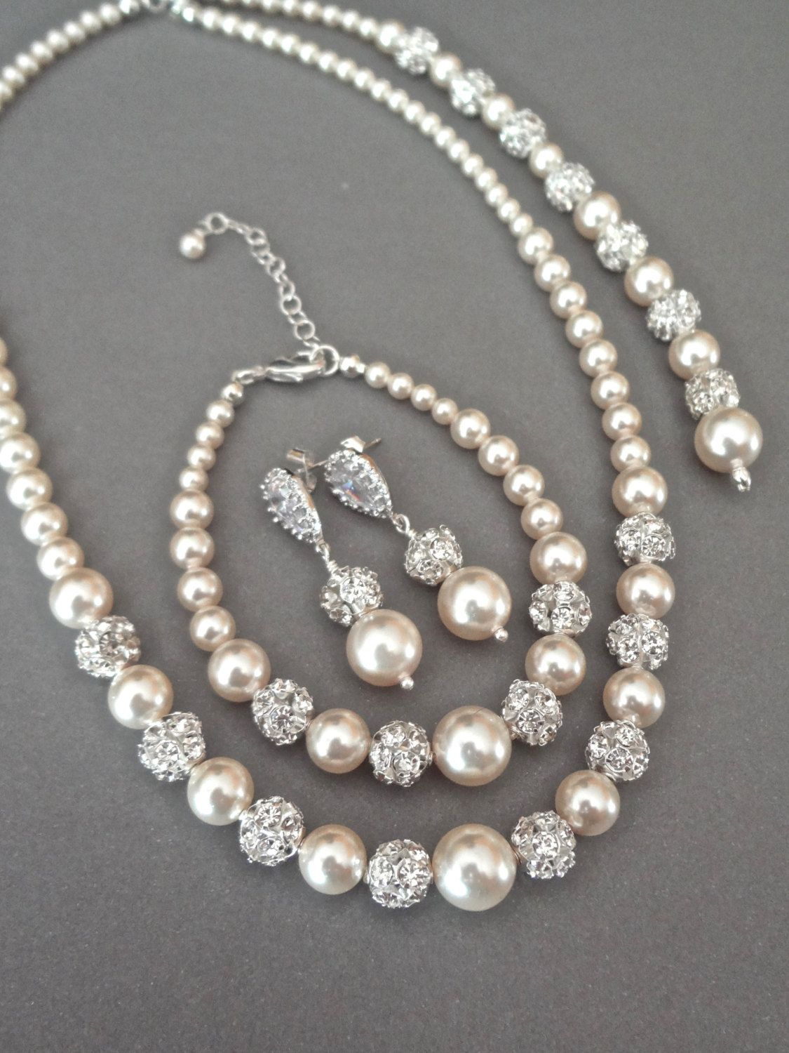 Pearl Jewelry Set Swarovski 3 Piece Backdrop Necklace