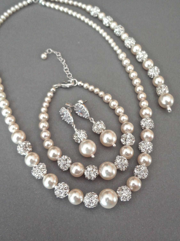 Pearl jewelry set Swarovski pearls and by