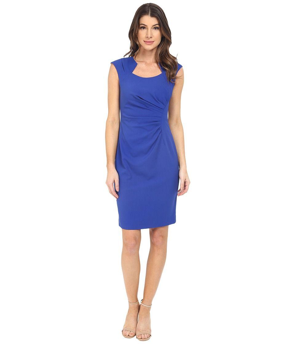 Calvin Klein  Cap Sleeve Ruched Sheath Dress Atlantis Womenus